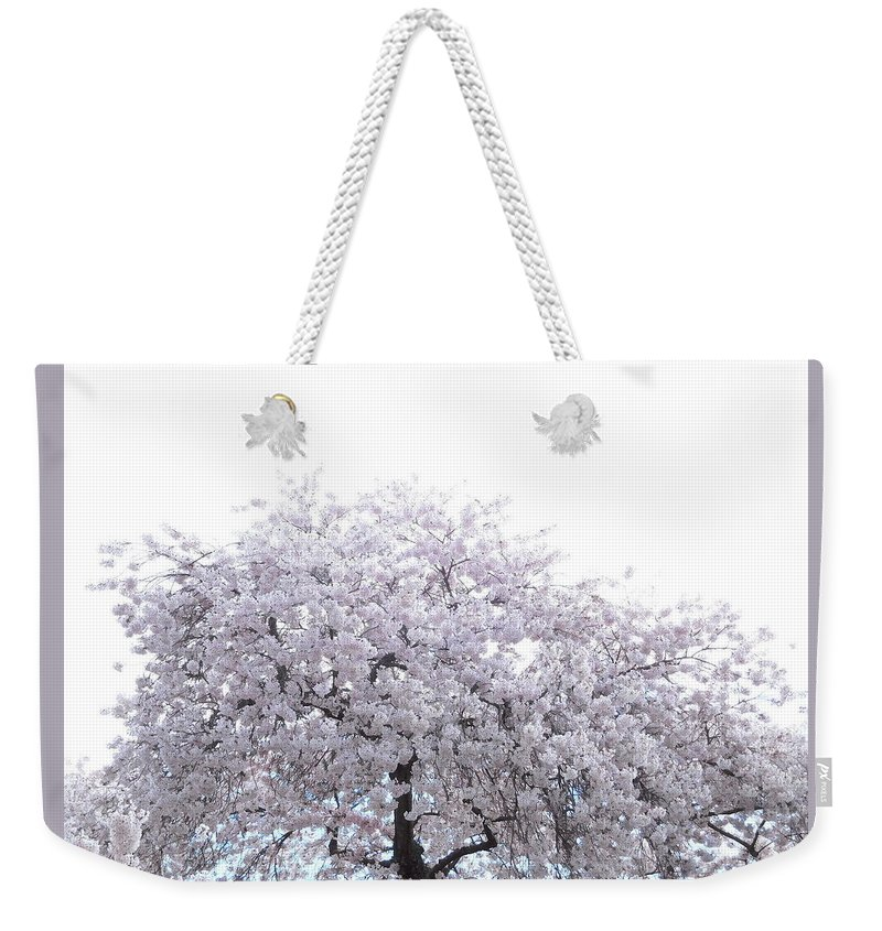 Cherry Weekender Tote Bag featuring the photograph Cascading Cherry by Maro Kentros