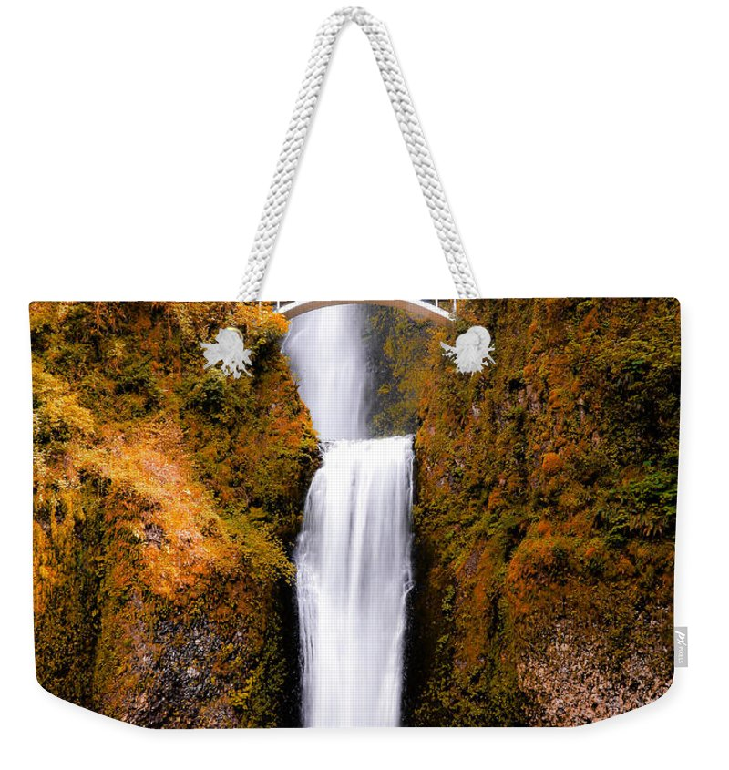 Multnomah Falls Weekender Tote Bag featuring the photograph Cascading Gold Waterfall II by Athena Mckinzie