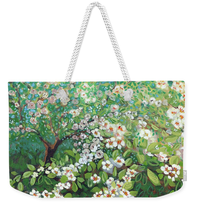 Landscape Weekender Tote Bag featuring the painting Cascading by Jennifer Lommers
