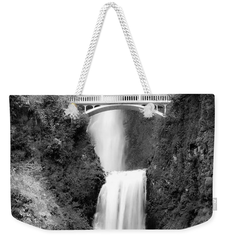 Multnomah Falls Weekender Tote Bag featuring the photograph Cascading Waterfall Bw by Athena Mckinzie