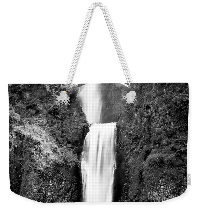 Multnomah Falls Weekender Tote Bag featuring the photograph Cascading Waterfall Multnomah Falls by Athena Mckinzie