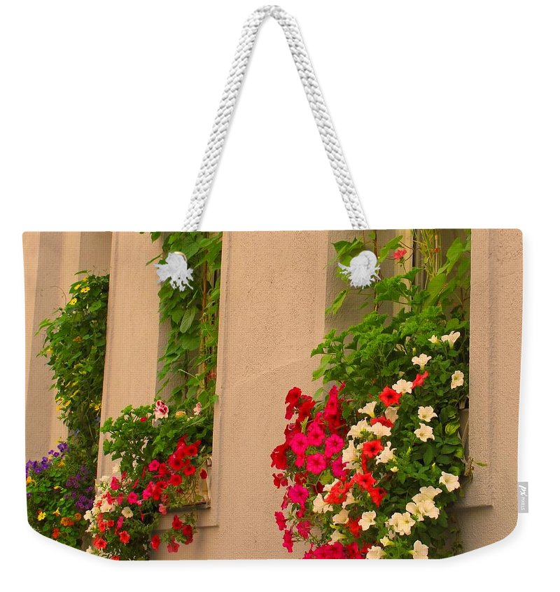 Flowers Weekender Tote Bag featuring the photograph Cascading Windows by Ian MacDonald
