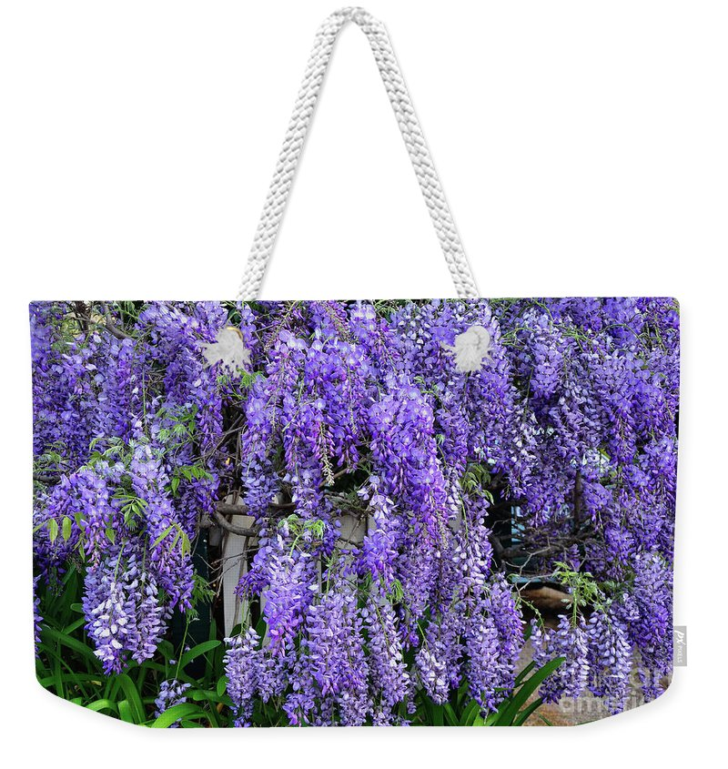 Photography Weekender Tote Bag featuring the photograph Cascading Wisteria 2 by Kaye Menner