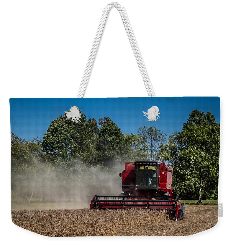 Axial Flow Weekender Tote Bag featuring the photograph Case Ih Bean Harvest by Ron Pate