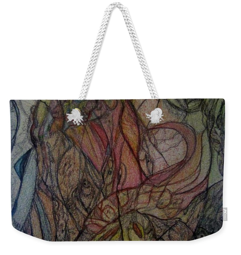 Abstract Weekender Tote Bag featuring the painting Cassandra by Stephanie Zelaya