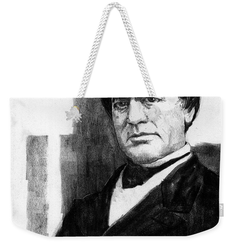 Men Weekender Tote Bag featuring the drawing Cassius Clay by Paul Sachtleben