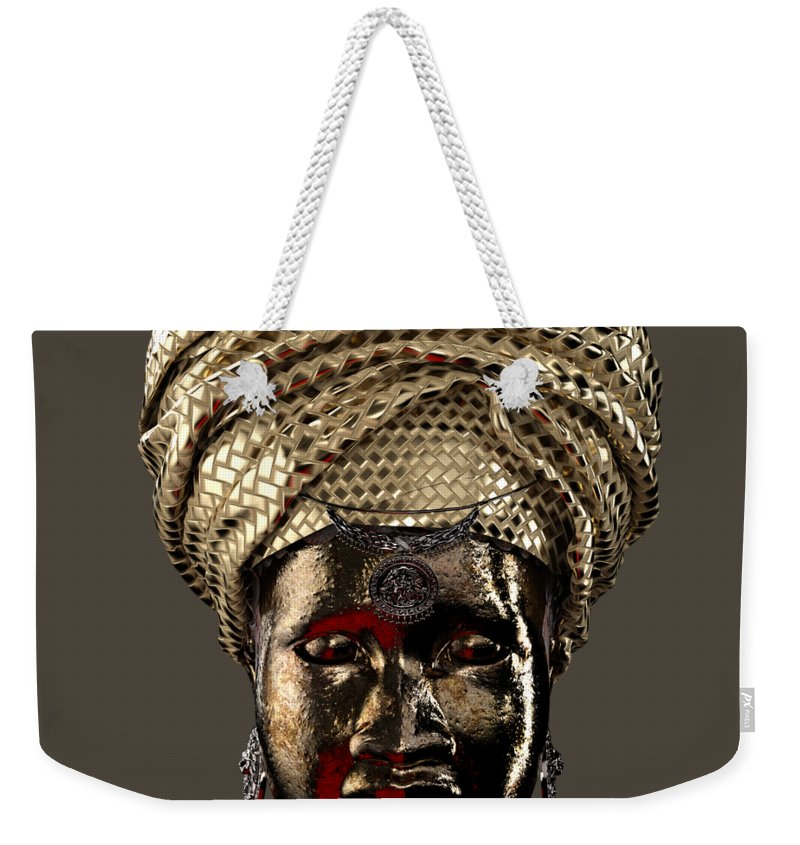 Africa Weekender Tote Bag featuring the sculpture Cast In Character 2013 - Front Transparent With Red Spotlight by Omolara