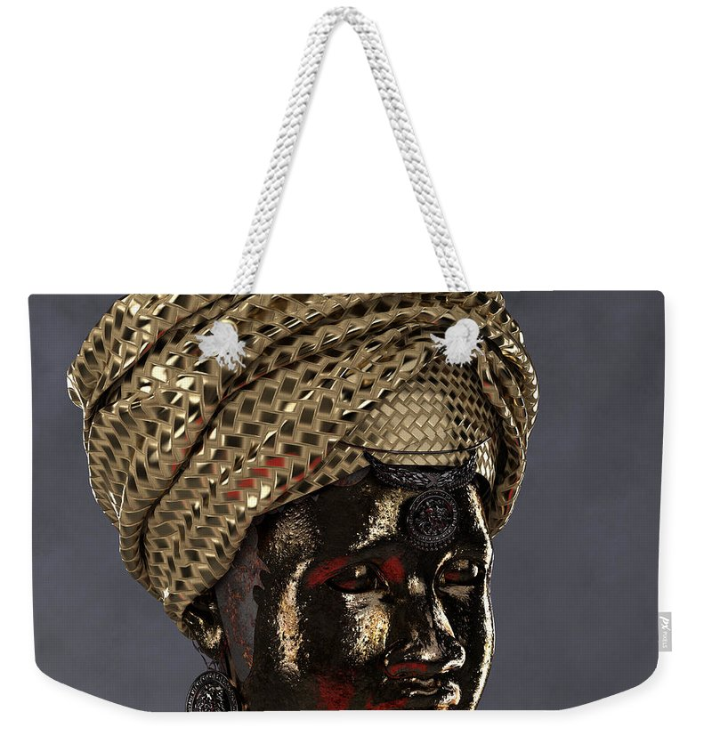 Africa Weekender Tote Bag featuring the sculpture Cast In Character 2013 - Side View With Red Spotlight by Omolara