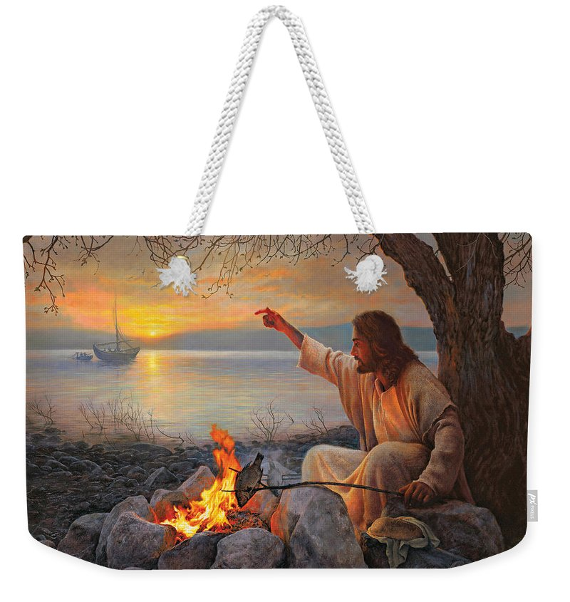 Jesus Weekender Tote Bag featuring the painting Cast Your Nets on the Right Side by Greg Olsen