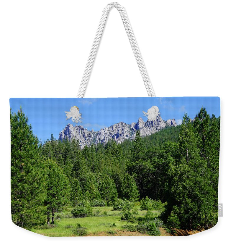 Castle Crags Weekender Tote Bag featuring the photograph Castle Crags by Ben Upham III