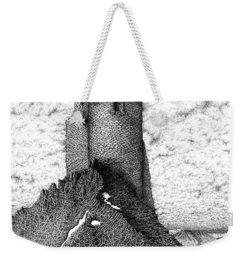Ink Weekender Tote Bag featuring the drawing Castle by Michael Stanford