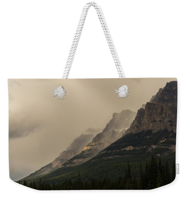 Castle Mountain Weekender Tote Bag featuring the photograph Castle Mountain by Alex Lapidus