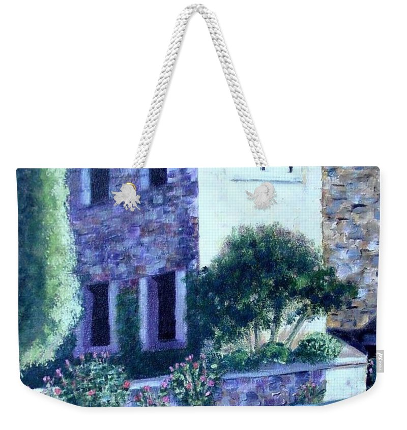 Italy Weekender Tote Bag featuring the painting Castle Sestri Levante by Laurie Morgan