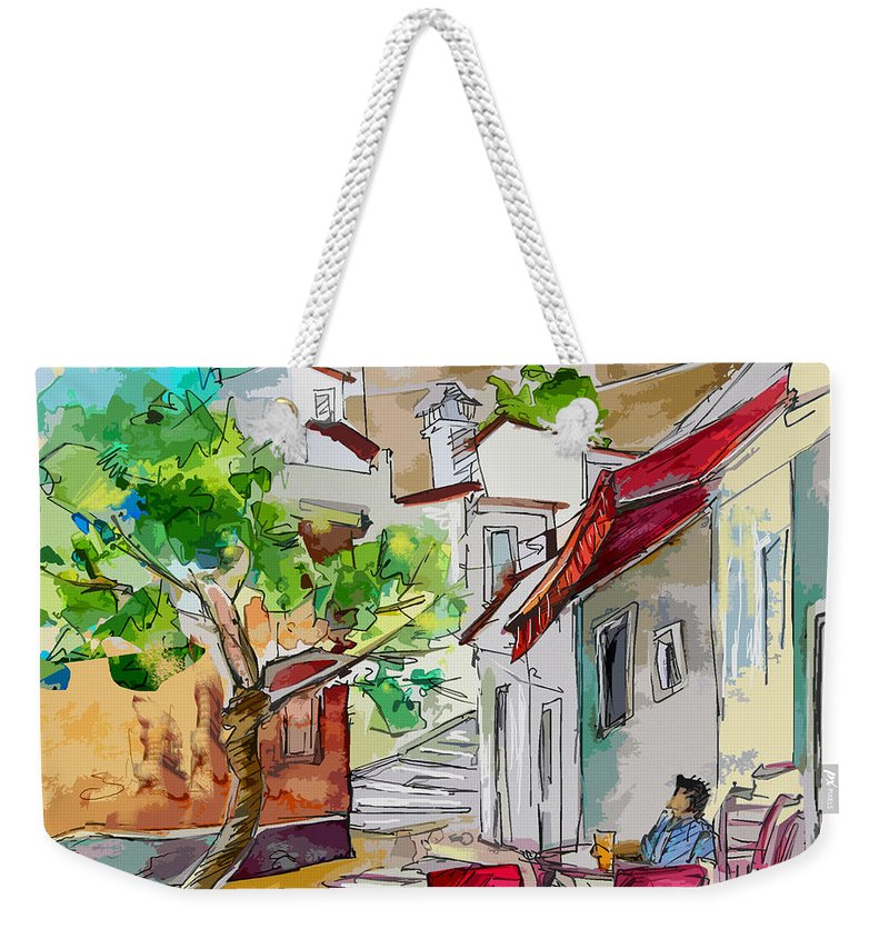 Castro Marim Portugal Algarve Painting Travel Sketch Weekender Tote Bag featuring the painting Castro Marim Portugal 01 Bis by Miki De Goodaboom