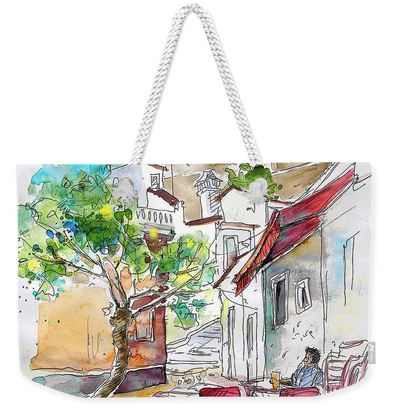 Water Colour Travel Sketch Castro Marim Portugal Algarve Miki Weekender Tote Bag featuring the painting Castro Marim Portugal 01 by Miki De Goodaboom
