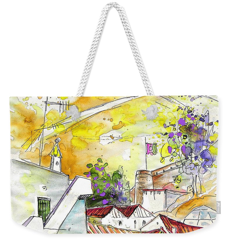 Water Colour Travel Sketch Castro Marim Portugal Algarve Miki Weekender Tote Bag featuring the painting Castro Marim Portugal 03 by Miki De Goodaboom