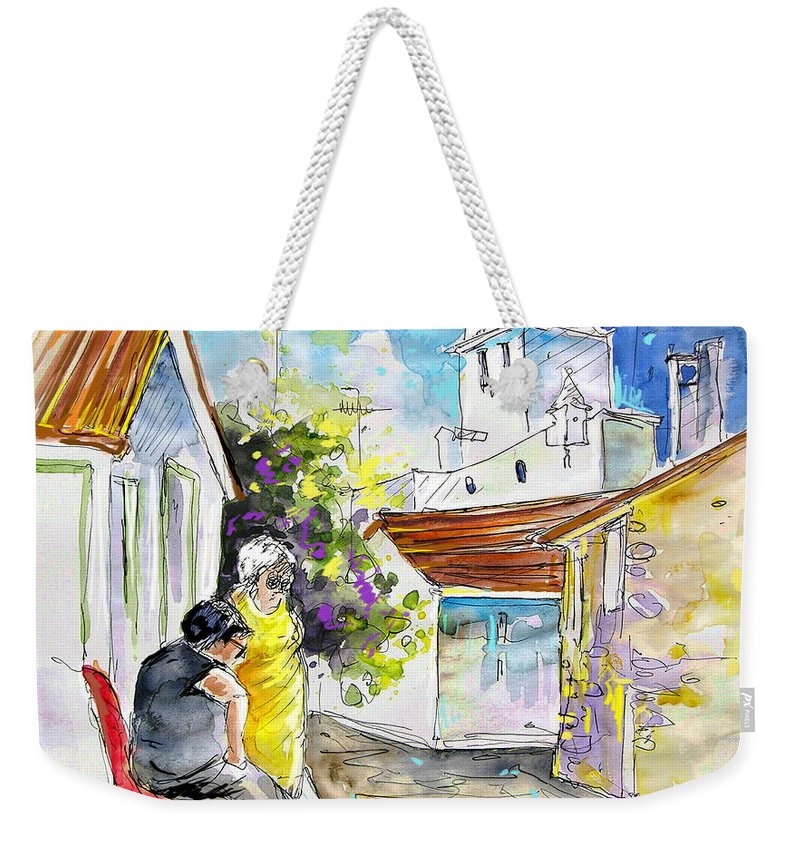 Water Colour Travel Sketch Castro Marim Portugal Algarve Miki Weekender Tote Bag featuring the painting Castro Marim Portugal 04 by Miki De Goodaboom