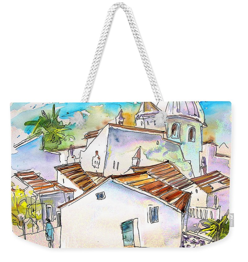 Water Colour Travel Sketch Castro Marim Portugal Algarve Miki Weekender Tote Bag featuring the painting Castro Marim Portugal 05 by Miki De Goodaboom