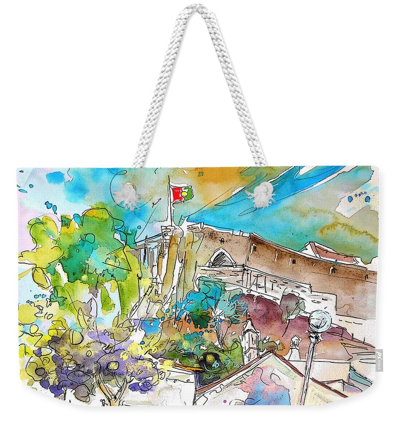 Castro Marim Portugal Algarve Painting Travel Sketch Weekender Tote Bag featuring the painting Castro Marim Portugal 10 by Miki De Goodaboom