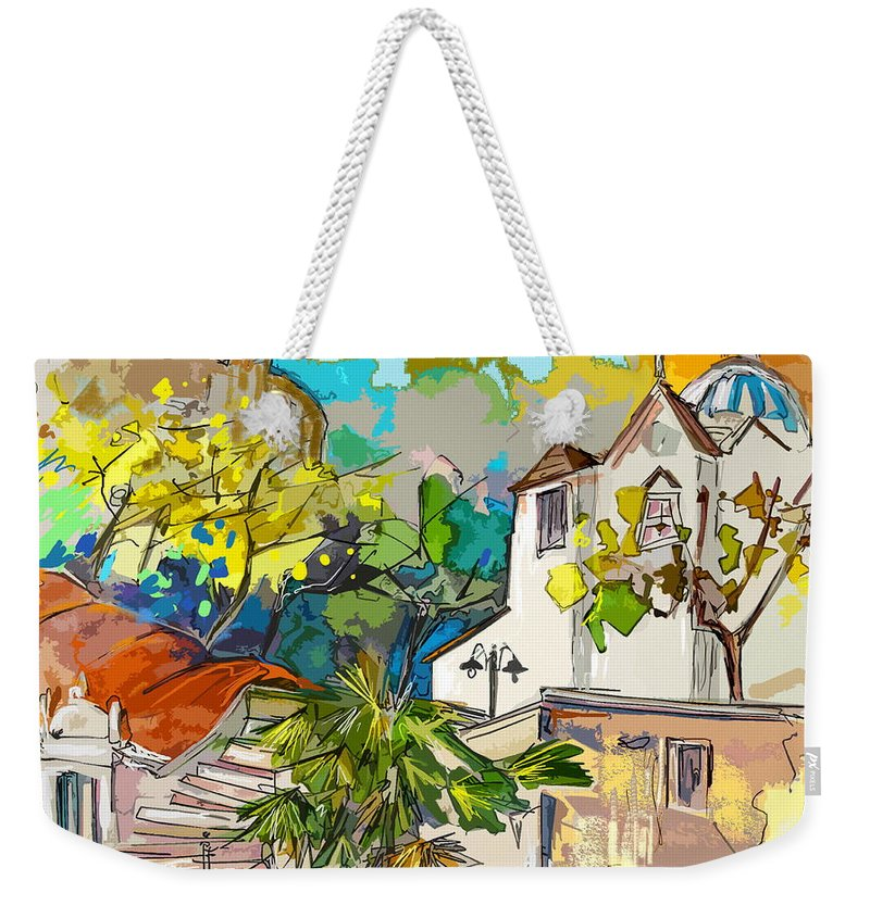 Castro Marim Portugal Algarve Painting Travel Sketch Weekender Tote Bag featuring the painting Castro Marim Portugal 13 Bis by Miki De Goodaboom