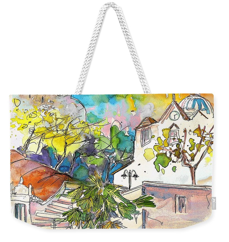 Castro Marim Portugal Algarve Painting Travel Sketch Weekender Tote Bag featuring the painting Castro Marim Portugal 13 by Miki De Goodaboom