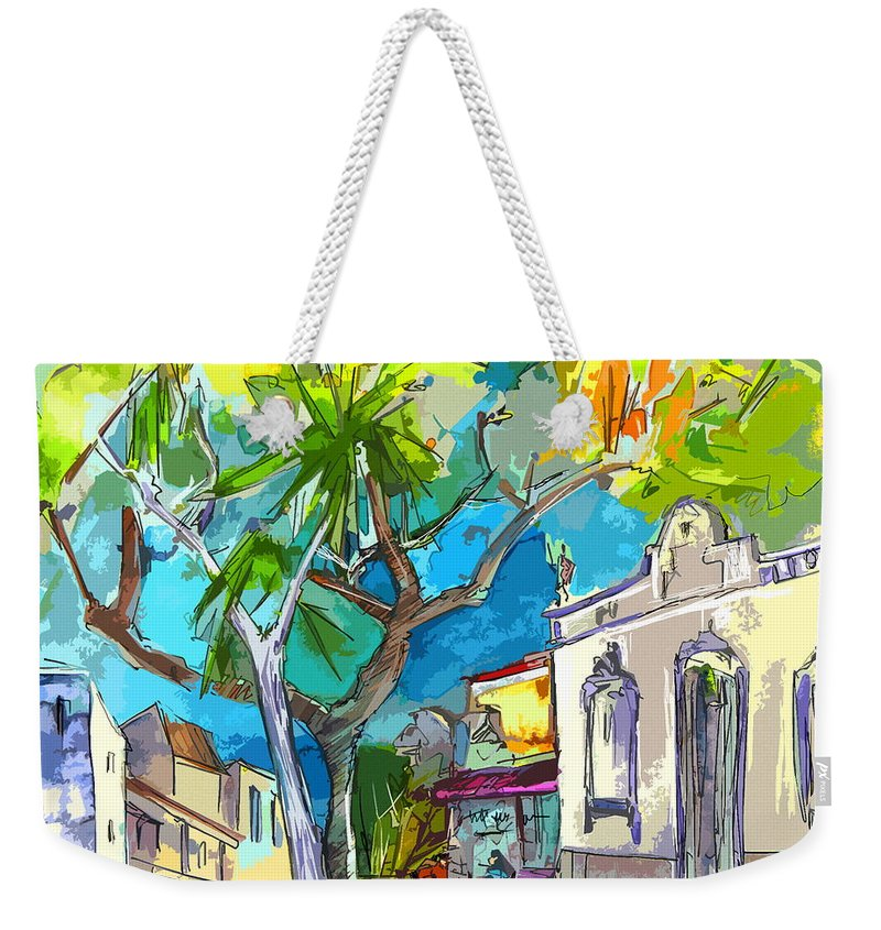 Castro Marim Portugal Algarve Painting Travel Sketch Weekender Tote Bag featuring the painting Castro Marim Portugal 14 Bis by Miki De Goodaboom
