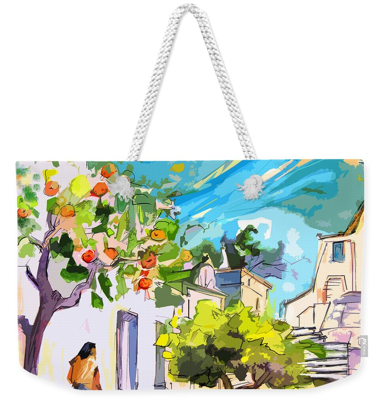 Castro Marim Portugal Algarve Painting Travel Sketch Weekender Tote Bag featuring the painting Castro Marim Portugal 15 Bis by Miki De Goodaboom