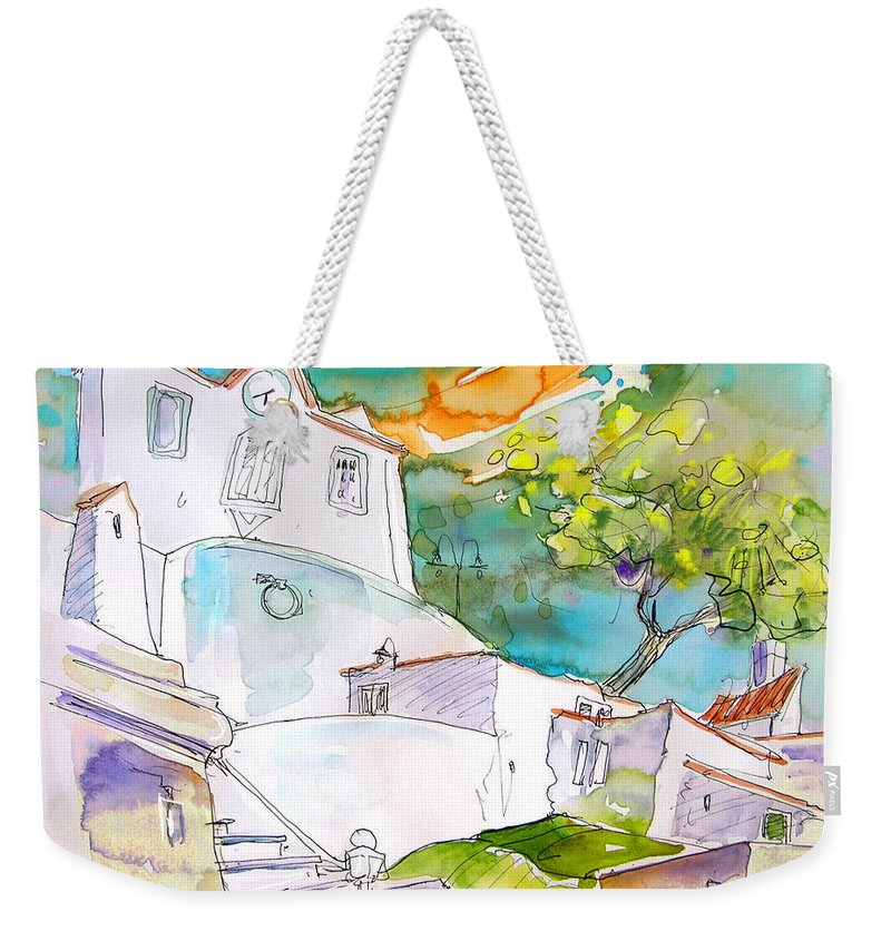 Castro Marim Portugal Algarve Painting Travel Sketch Weekender Tote Bag featuring the painting Castro Marim Portugal 17 by Miki De Goodaboom