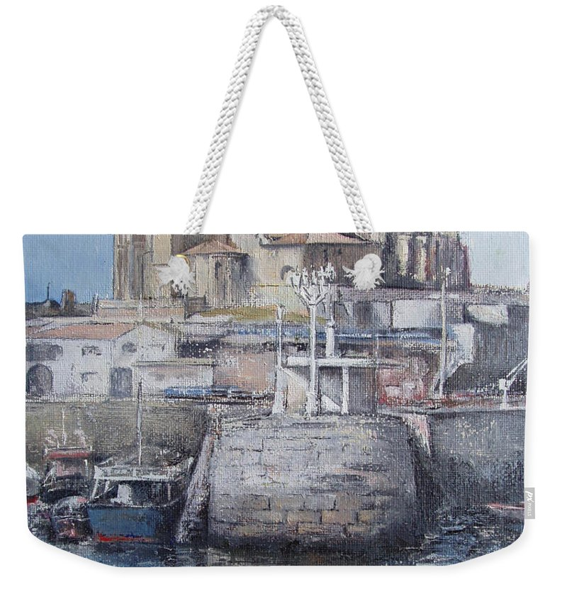 Castro Weekender Tote Bag featuring the painting Castro Urdiales by Tomas Castano