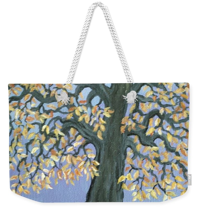 Cat Weekender Tote Bag featuring the painting Cat And Crow by Nick Gustafson