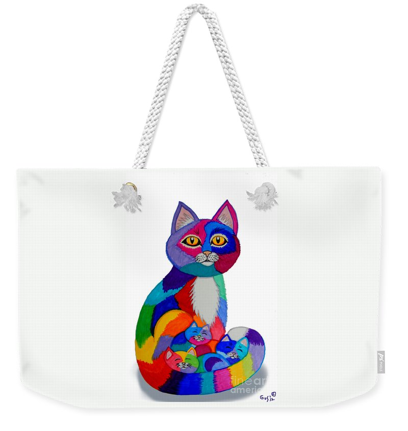 Cat Weekender Tote Bag featuring the drawing Cat And Kittens 2 by Nick Gustafson