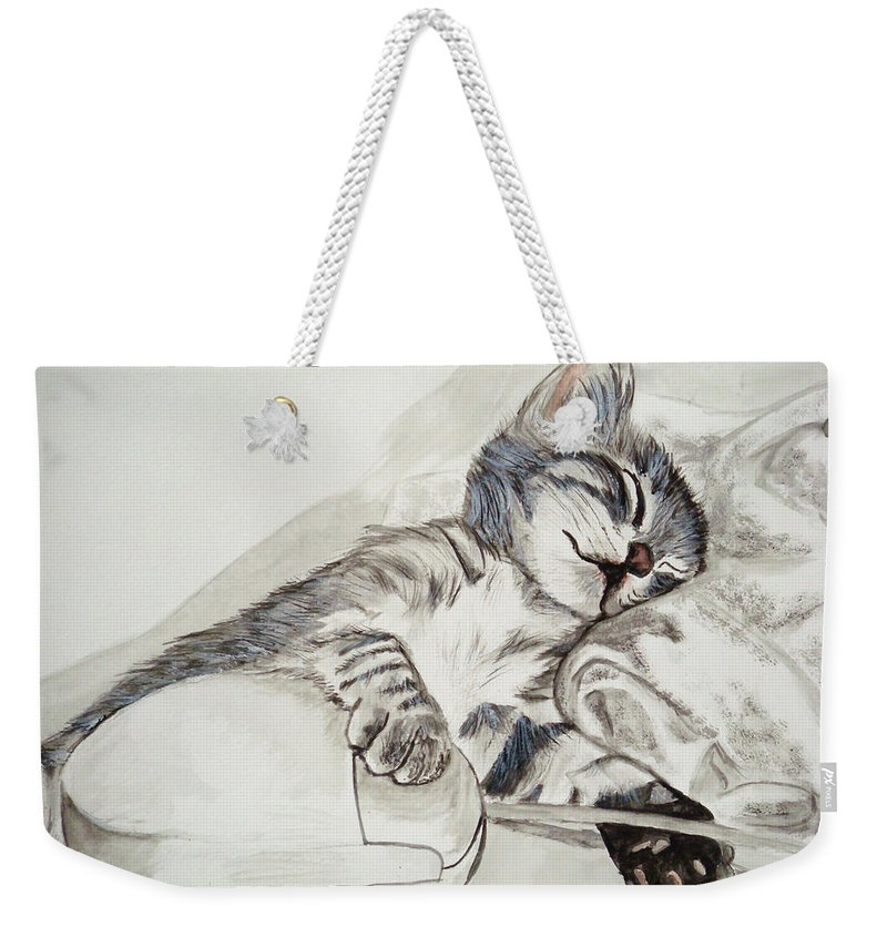 Cat Painting Weekender Tote Bag featuring the painting Cat And Mouse by Carol Blackhurst