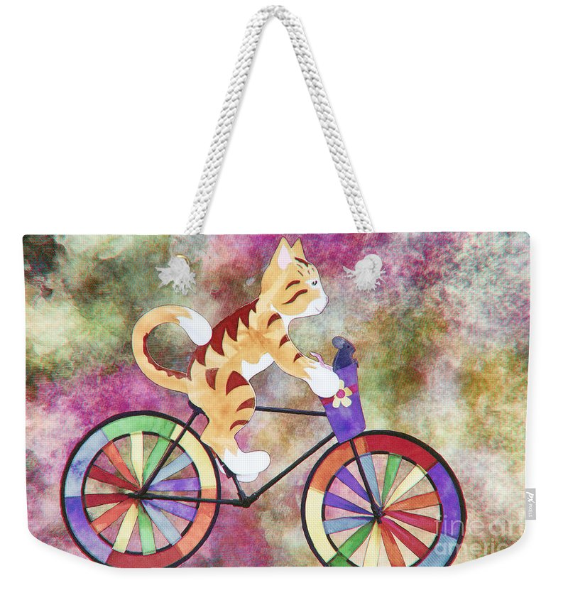 Cat Weekender Tote Bag featuring the mixed media Cat And Mouse by Davy Cheng