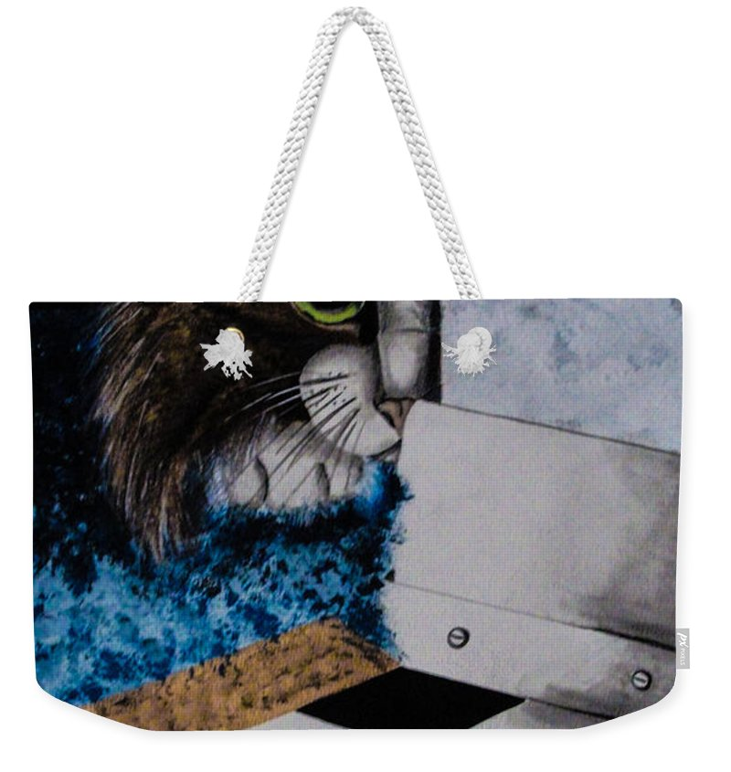 Cat. Mouse. Black And White. Animals. Fine Art. Unique Design. Checker Floor. Weekender Tote Bag featuring the painting Cat And Mouse by Dawn Siegler