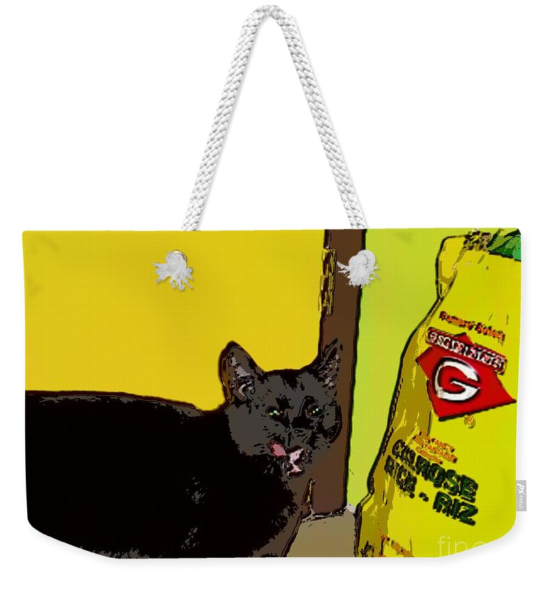 Photograph Cat Black Rice Yellow Critter Green Red Weekender Tote Bag featuring the photograph Cat And Rice by Seon-Jeong Kim
