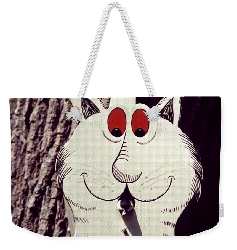 Cat Bird House Weekender Tote Bag featuring the photograph Cat Bird House With Bird by Sally Weigand