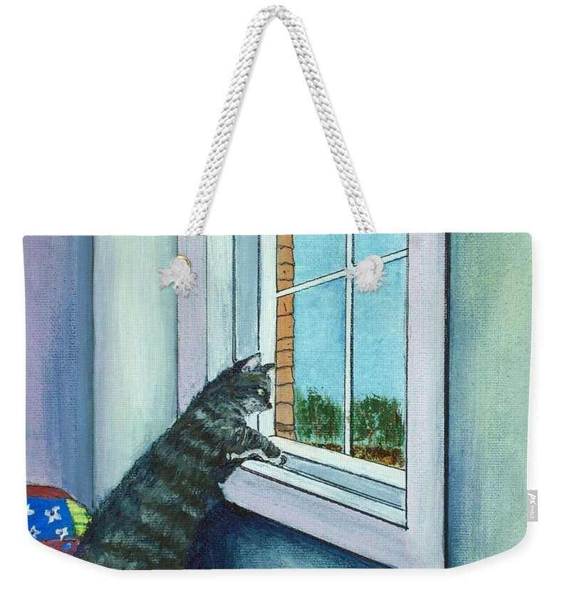 Cat Weekender Tote Bag featuring the painting Cat By The Window by Anastasiya Malakhova