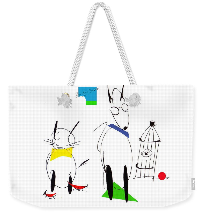 Dog Weekender Tote Bag featuring the drawing Cat, Dog, Hydrant by Roger Bester