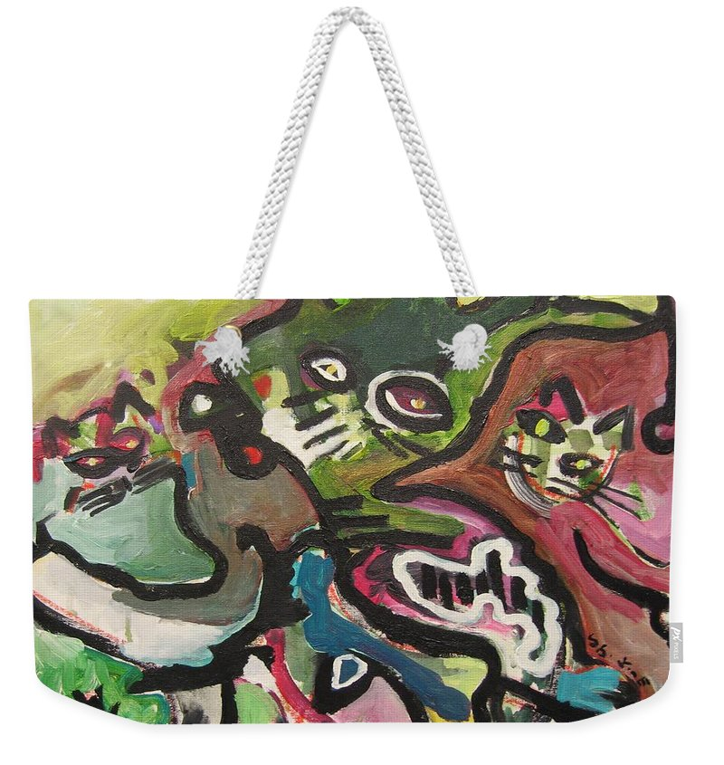Cat Painting Weekender Tote Bag featuring the painting Cat Fight by Seon-Jeong Kim