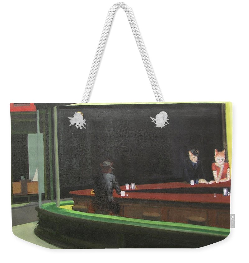 Nighthawks Weekender Tote Bag featuring the painting Cat Hawks At The Diner by Gail Eisenfeld