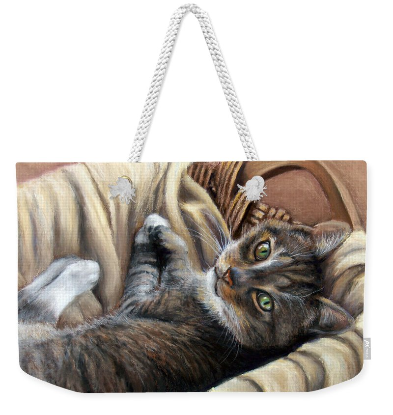 Animal Weekender Tote Bag featuring the pastel Cat In A Basket by Susan Jenkins