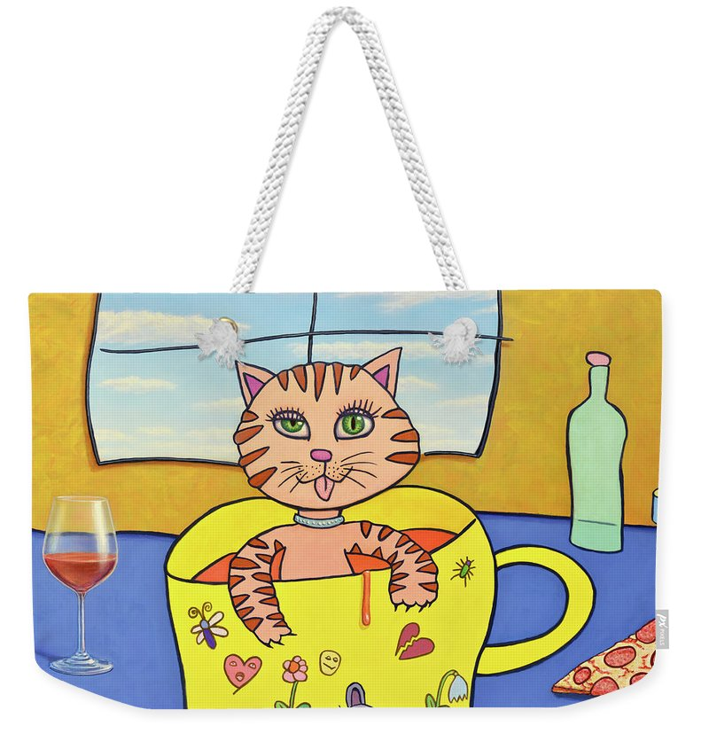 Cat Weekender Tote Bag featuring the painting Cat In A Cup by James W Johnson