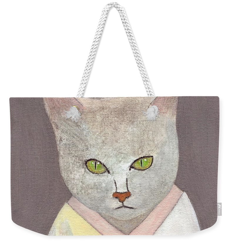 Cat In Kimono Weekender Tote Bag featuring the painting Cat In Kimono by Kazumi Whitemoon