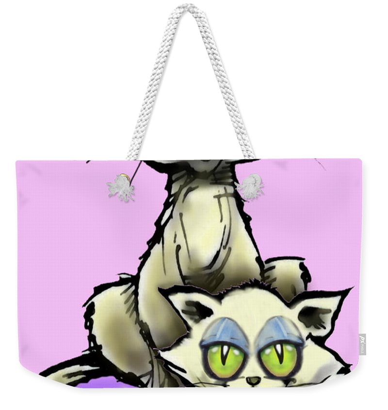 Cat Weekender Tote Bag featuring the digital art Cat N Kitten by Kevin Middleton