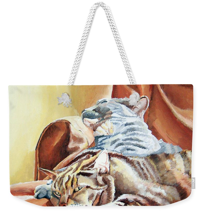 Cats Weekender Tote Bag featuring the painting Cat Nap by Dominic White