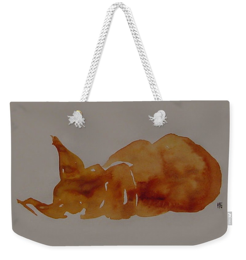 Domestic Weekender Tote Bag featuring the painting Cat Nap by Shirley Heyn