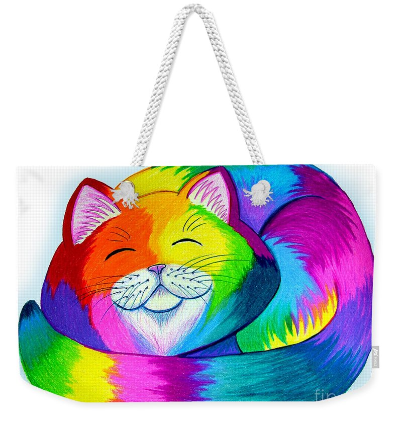 Cat Weekender Tote Bag featuring the drawing Cat Napping by Nick Gustafson
