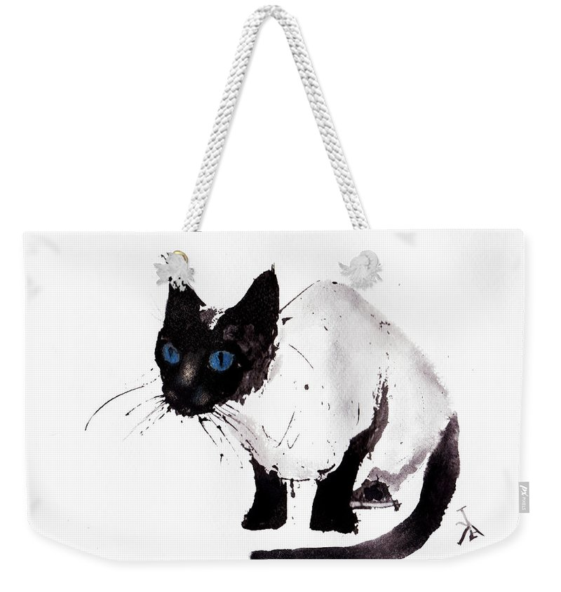 Cat Watercolor Painting Weekender Tote Bag featuring the painting Cat Painting by Del Art