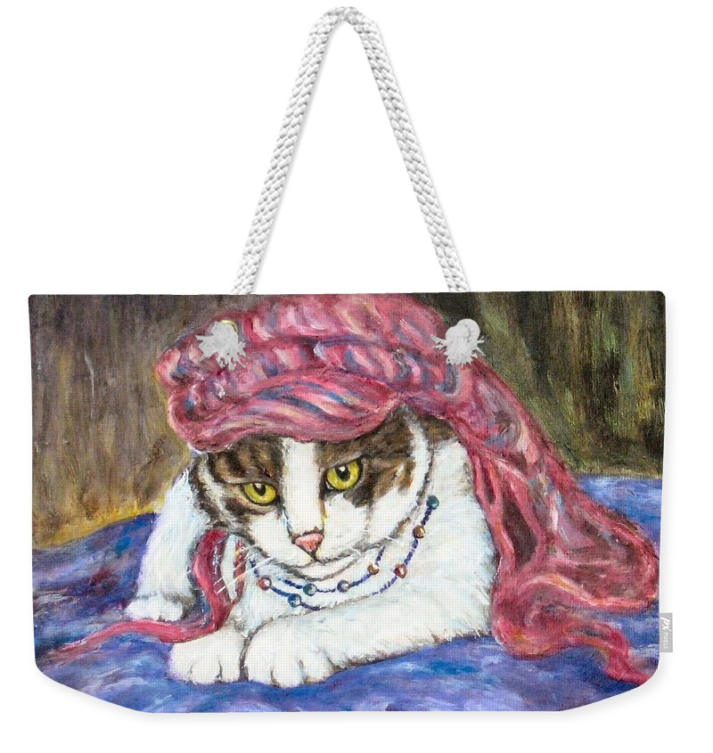 Cat Painting Weekender Tote Bag featuring the painting Tabby Cat With Yellow Eyes by Frances Gillotti