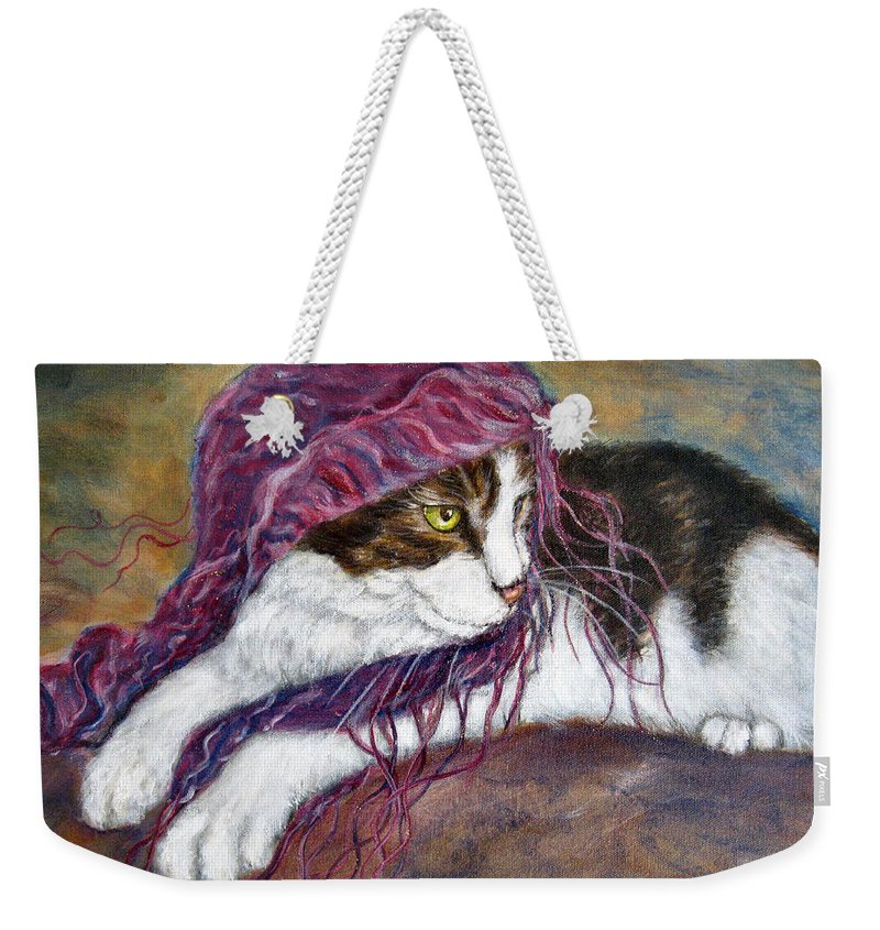 Tortoise Cat Weekender Tote Bag featuring the painting Cat Painting Charlie The Pirate by Frances Gillotti